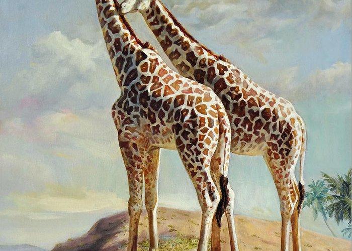 Giraffe Greeting Card featuring the painting Romance In Africa - Love Among Giraffes by Svitozar Nenyuk