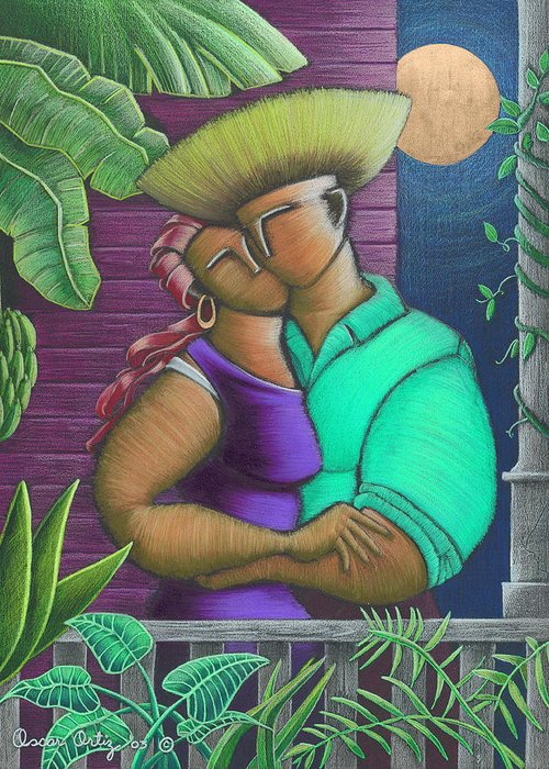 Puerto Rico Greeting Card featuring the painting Romance Jibaro by Oscar Ortiz