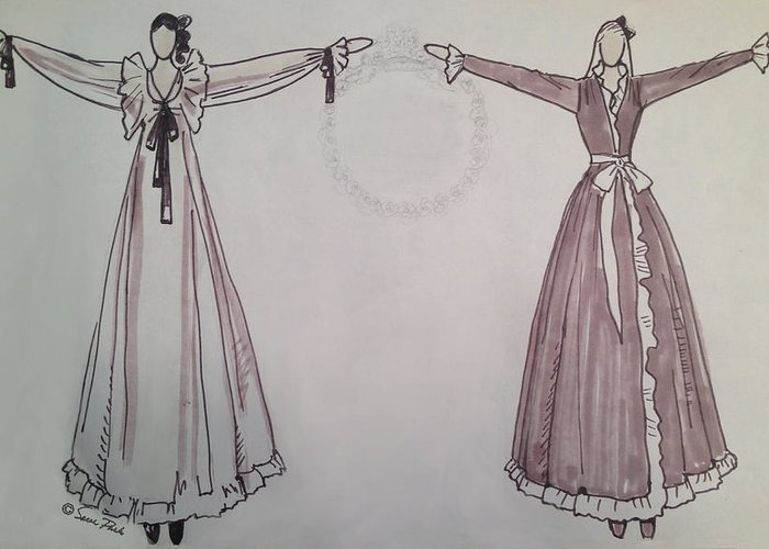 Fashion Illustration Greeting Card featuring the drawing Romance by Sarah Parks