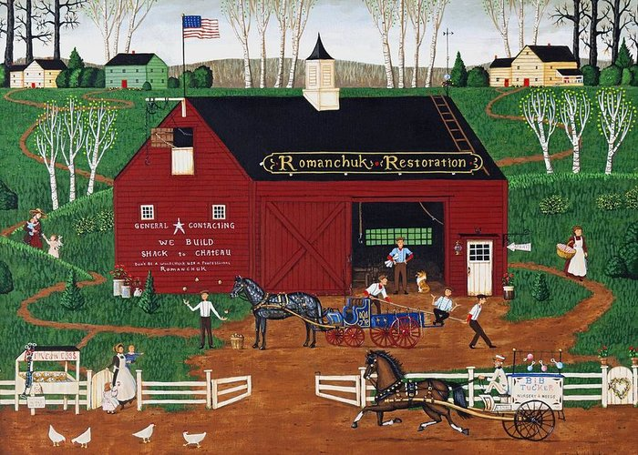 Barn Greeting Card featuring the painting Romanchuk Restoration by Joseph Holodook