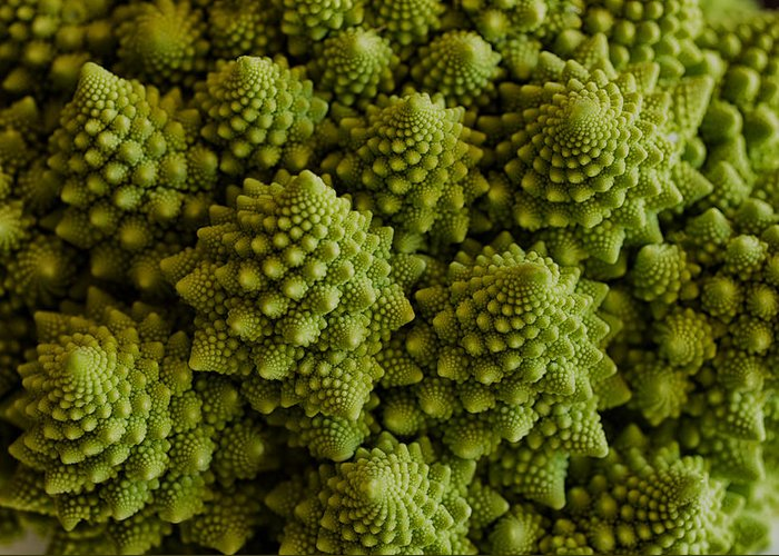 Veggie Greeting Card featuring the photograph Romanesco Broccoli Close Up by Marianne Donahoe
