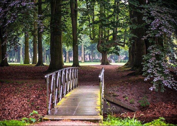 Utrecht Greeting Card featuring the photograph Romantic Bridge To Shadow Place. De Haar Castle by Jenny Rainbow