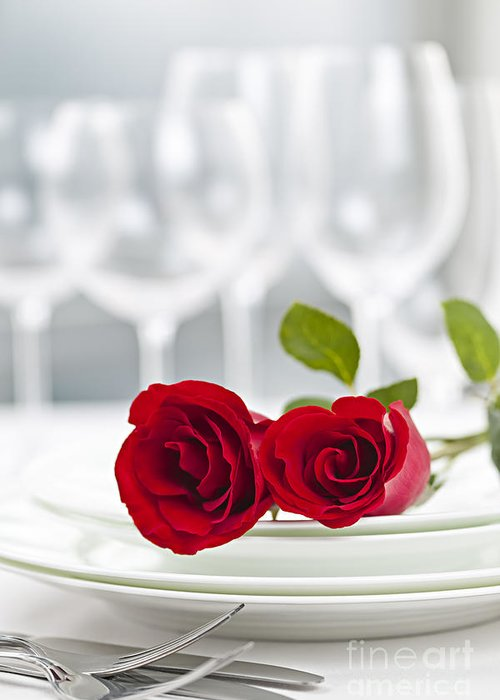 Romantic Greeting Card featuring the photograph Romantic Dinner Setting by Elena Elisseeva
