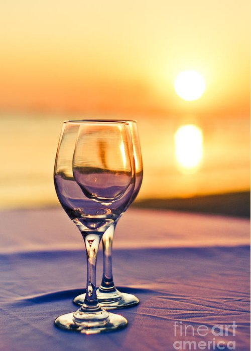 Wine Greeting Card featuring the photograph Romantic Sunset Drink With Wine Glass by Tuimages