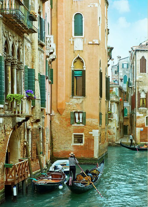 Heterosexual Couple Greeting Card featuring the photograph Romantic Venice Views From Gondola by Caracterdesign