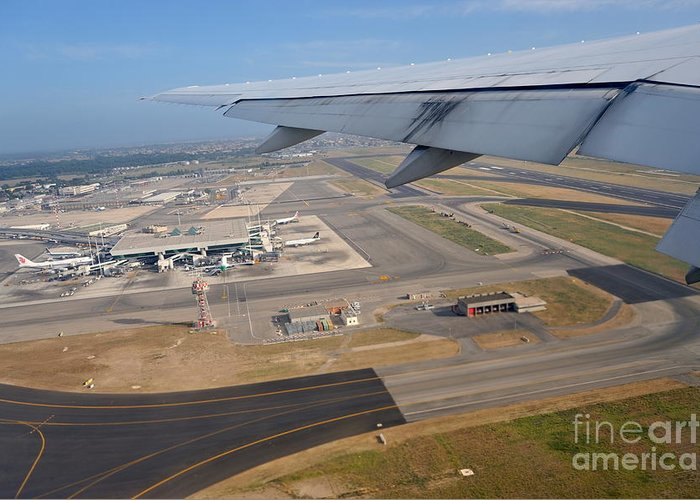 Airport Greeting Card featuring the photograph Rome Airport From An Aircraft by Sami Sarkis
