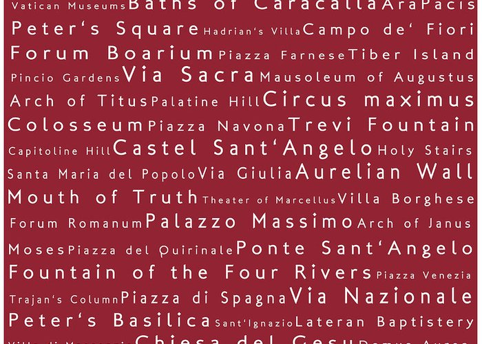 Cities Greeting Card featuring the photograph Rome In Words Red by Sabine Jacobs