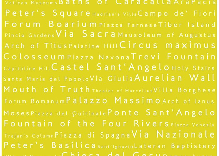 Cities Greeting Card featuring the photograph Rome In Words Yellow by Sabine Jacobs