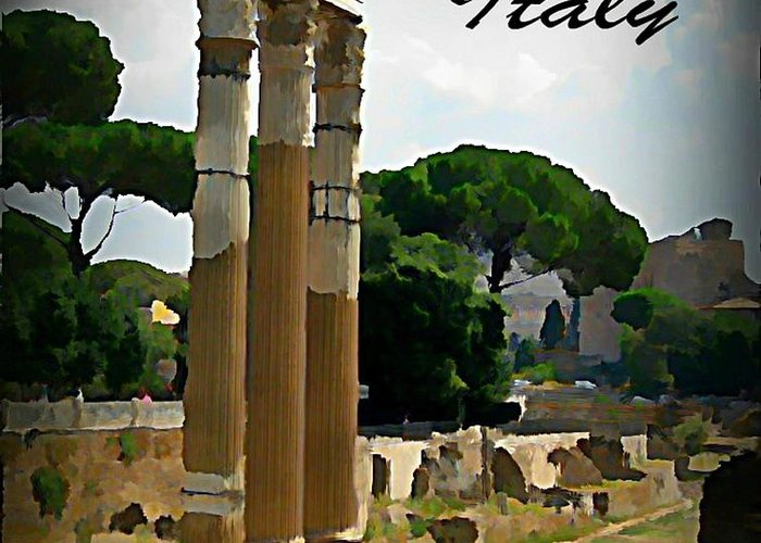 Rome Italy Poster Greeting Card featuring the painting Rome Italy Poster by John Malone