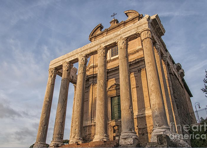 Temple Greeting Card featuring the photograph Rome Temple Of Antoninus And Faustina 01 by Antony McAulay