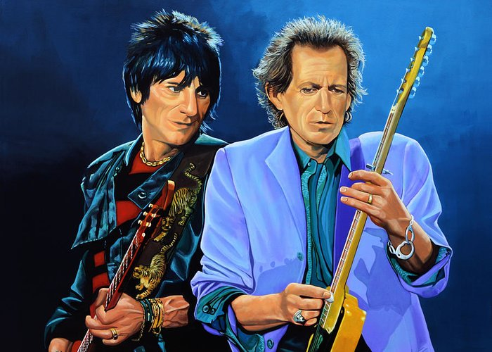 The Rolling Stones Greeting Card featuring the painting Ron Wood And Keith Richards by Paul Meijering