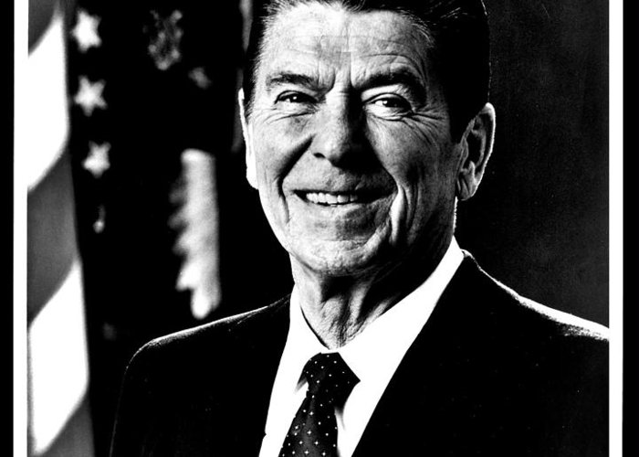 Ronald Greeting Card featuring the photograph Ronald Reagan by Benjamin Yeager