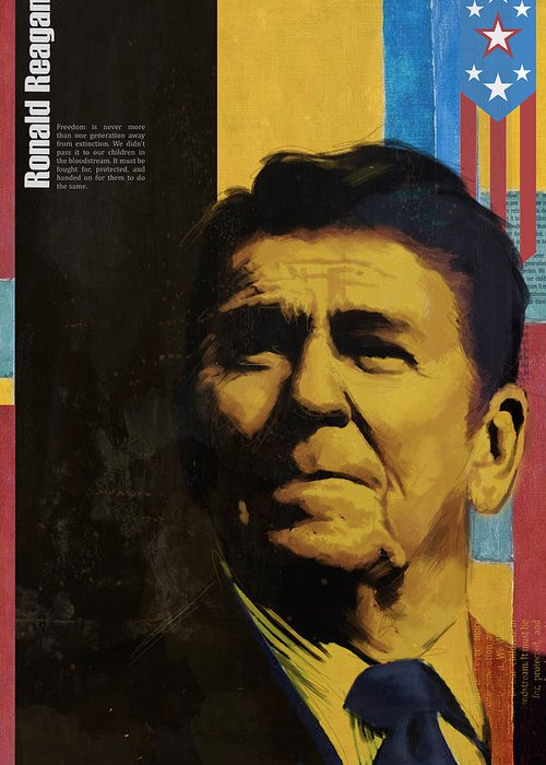 Ronald Reagan Greeting Card featuring the painting Ronald Reagan by Corporate Art Task Force