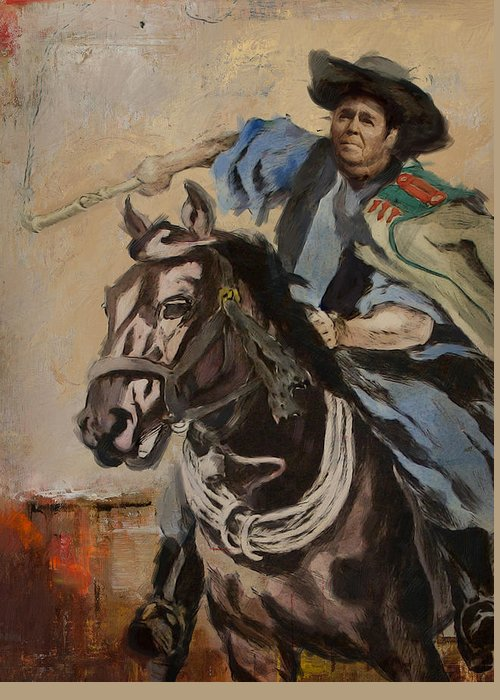 Rancho Del Cielo Greeting Card featuring the painting Ronald Reagan Portrait 3 by Corporate Art Task Force