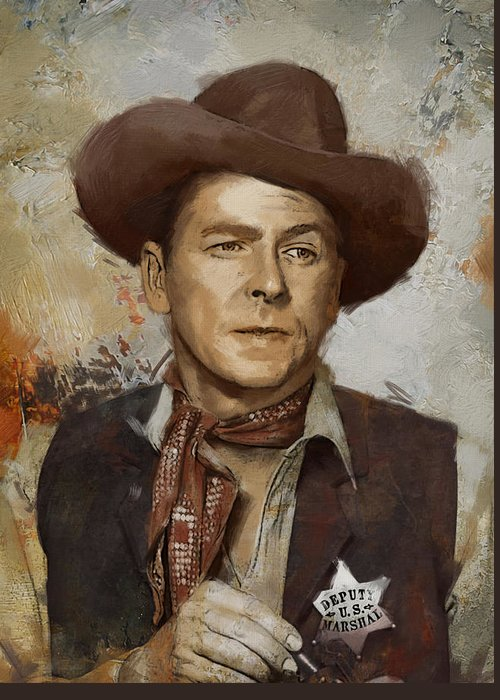 Rancho Del Cielo Greeting Card featuring the painting Ronald Reagan Portrait 4 by Corporate Art Task Force