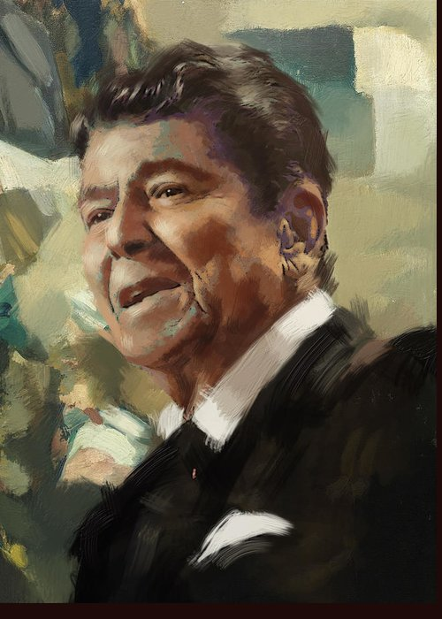 Rancho Del Cielo Greeting Card featuring the painting Ronald Reagan Portrait 5 by Corporate Art Task Force