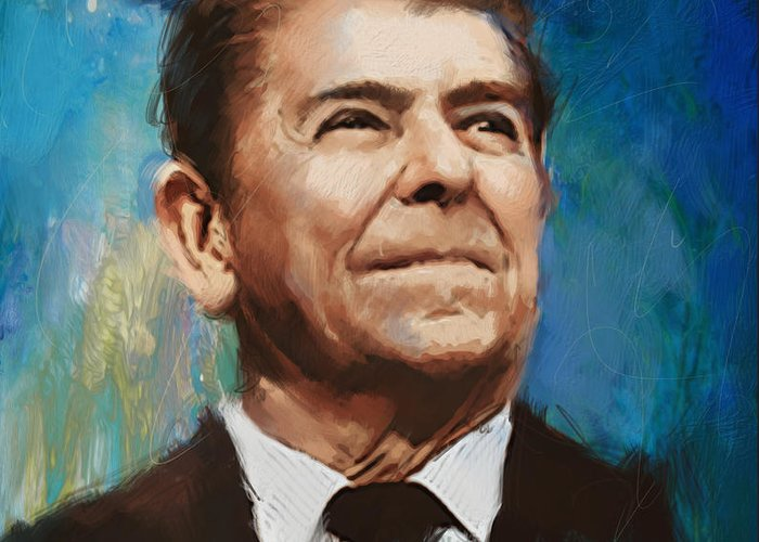 Rancho Del Cielo Greeting Card featuring the painting Ronald Reagan Portrait 6 by Corporate Art Task Force