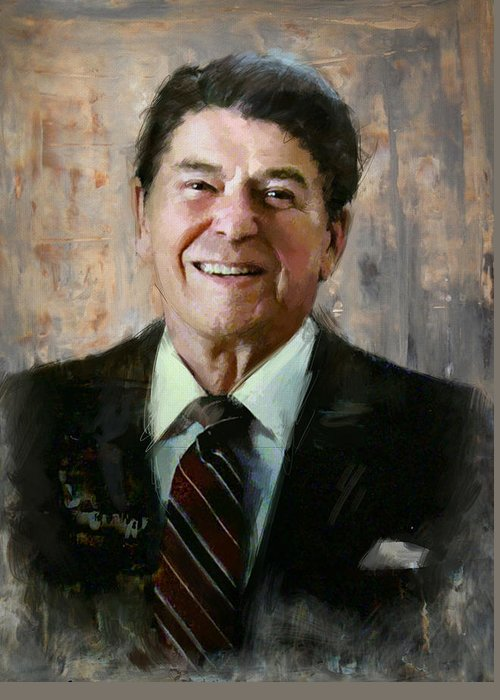 Rancho Del Cielo Greeting Card featuring the painting Ronald Reagan Portrait 7 by Corporate Art Task Force