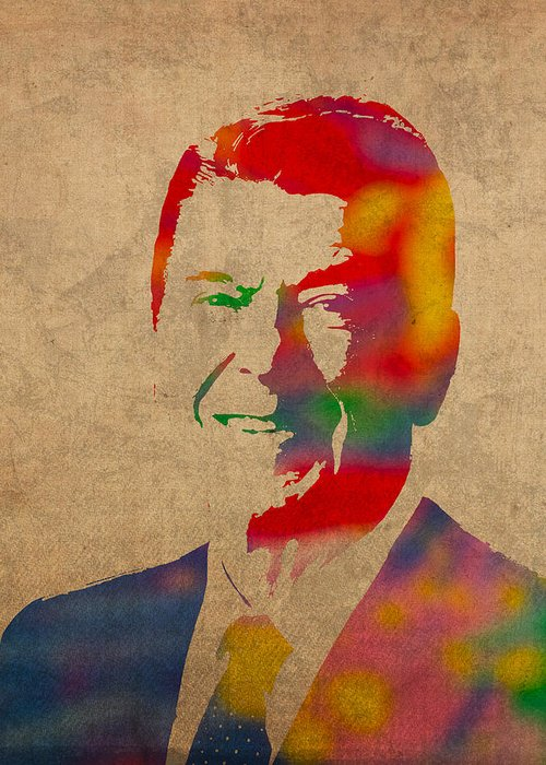 Ronald Reagan President 1980s Usa Watercolor Portrait On Worn Distressed Canvas Greeting Card featuring the mixed media Ronald Reagan Watercolor Portrait On Worn Distressed Canvas by Design Turnpike