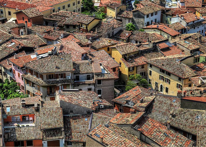 Tranquility Greeting Card featuring the photograph Roofs by Mento