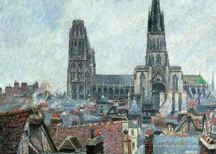 Art Greeting Card featuring the painting Roofs Of Old Rouen Grey Weather by Camille Pissarro
