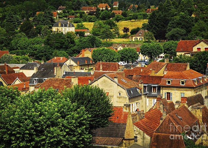 Sarlat Greeting Card featuring the photograph Rooftops In Sarlat by Elena Elisseeva