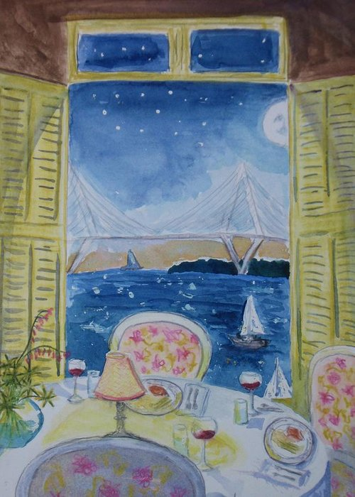Moon Greeting Card featuring the painting Room With A View by Emy Higgins