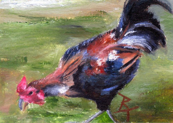 Rooster Greeting Card featuring the painting Rooster Aceo by Brenda Thour