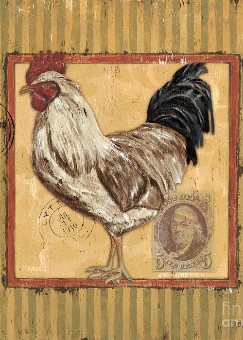 Rooster Greeting Card featuring the painting Rooster And Stripes by Debbie DeWitt