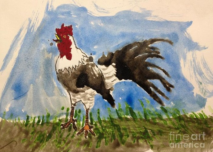 Pen Greeting Card featuring the painting Rooster by David Heid
