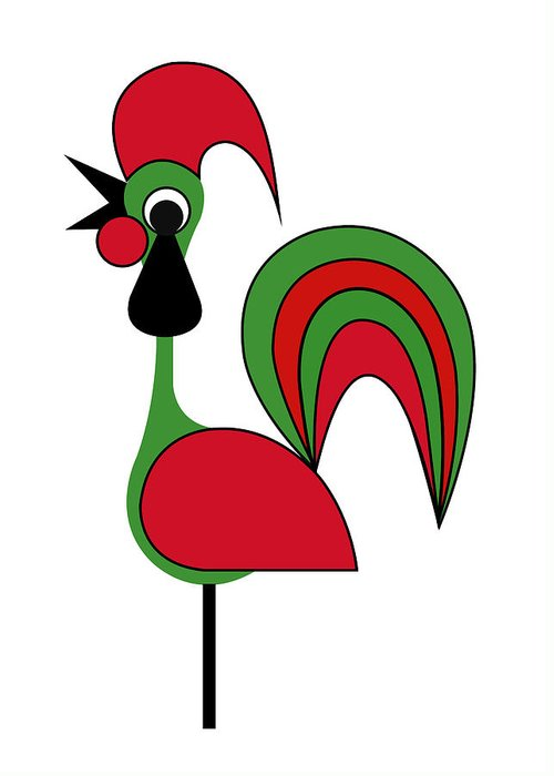 Rooster From Porto Greeting Card featuring the digital art Rooster from Porto by Asbjorn Lonvig