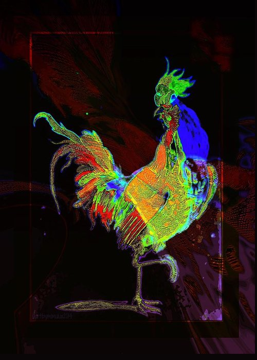 Rooster Greeting Card featuring the digital art Rooster by Mimulux patricia No