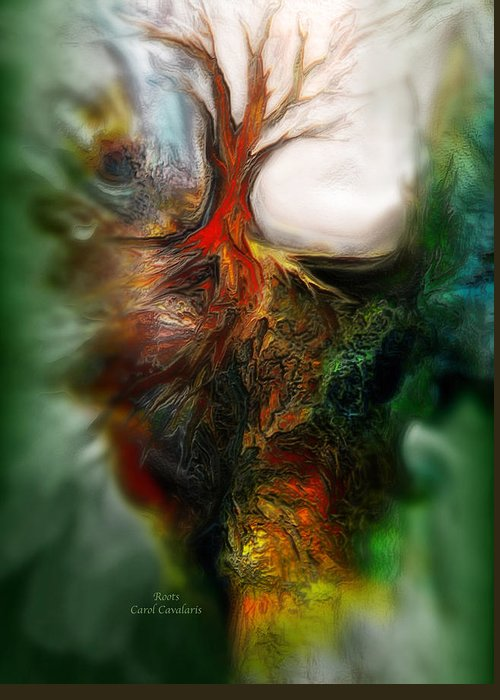Abstract Greeting Card featuring the mixed media Roots by Carol Cavalaris