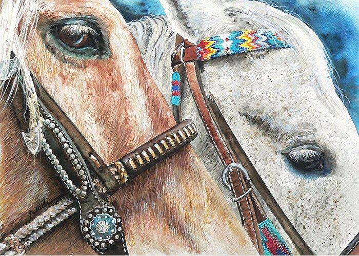 Horse Greeting Card featuring the painting Roping Horses by Nadi Spencer