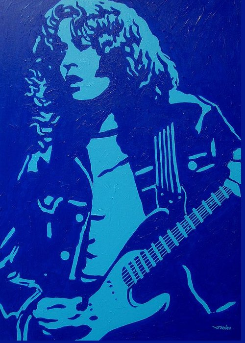 Acrylic Greeting Card featuring the painting Rory Gallagher by John Nolan