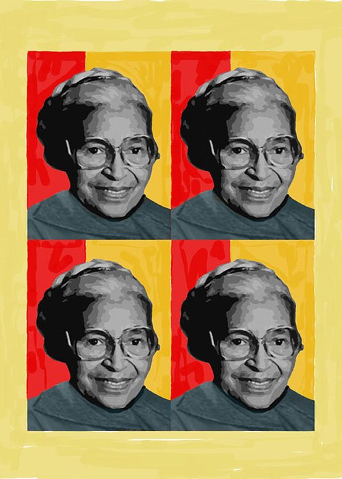 People Greeting Card featuring the pyrography Rosa Parks X4 by Lawrence Hubbs
