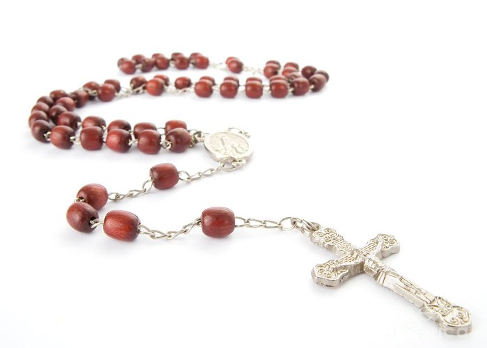 Rosary Greeting Card featuring the photograph Rosary Beads by Jose Elias - Sofia Pereira