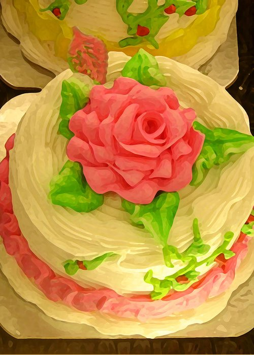 Food Greeting Card featuring the painting Rose Cakes by Amy Vangsgard