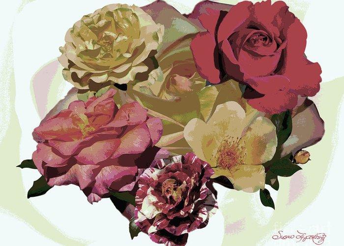 Susan Lipschutz Greeting Card featuring the photograph Rose Collage by Susan Lipschutz