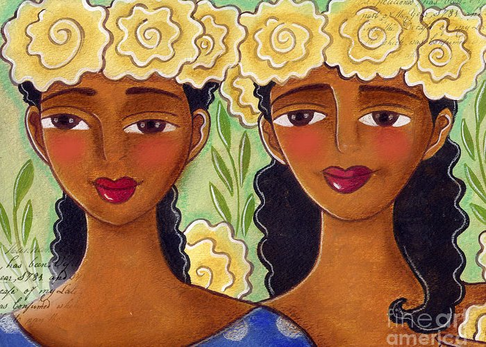 Yellow Roses Greeting Card featuring the painting Rose Crown Sisiters by Elaine Jackson