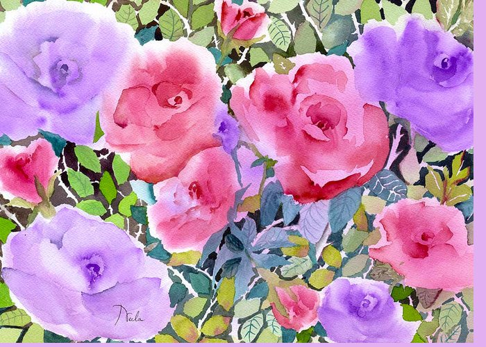 Pinks And Purple Petals Greeting Cards
