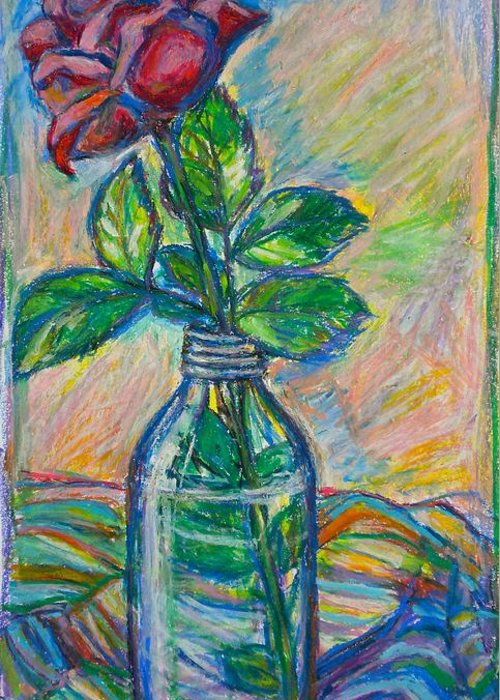 Still Life Greeting Card featuring the painting Rose In A Bottle by Kendall Kessler