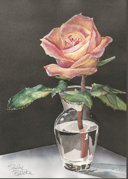 Watercolor Greeting Card featuring the painting Rose Of Hope by Shelly Bilicke