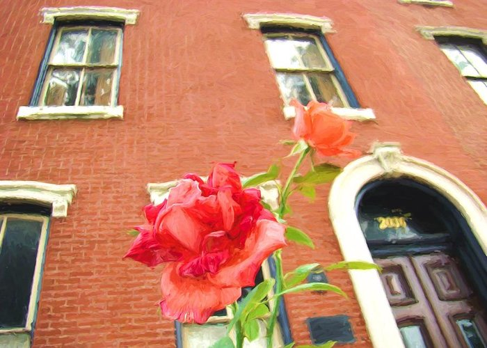 Rose Greeting Card featuring the photograph Rose On Brownstone by Alice Gipson