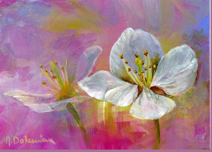 Acrylic Greeting Card featuring the painting Rose Pecher by Muriel Dolemieux