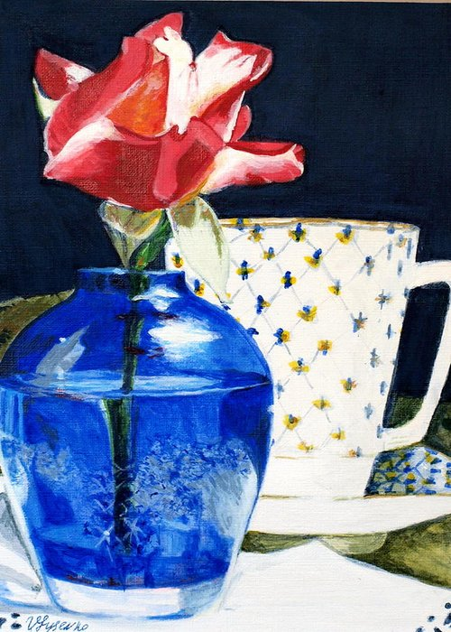 Flower Greeting Card featuring the painting Rose by Vera Lysenko