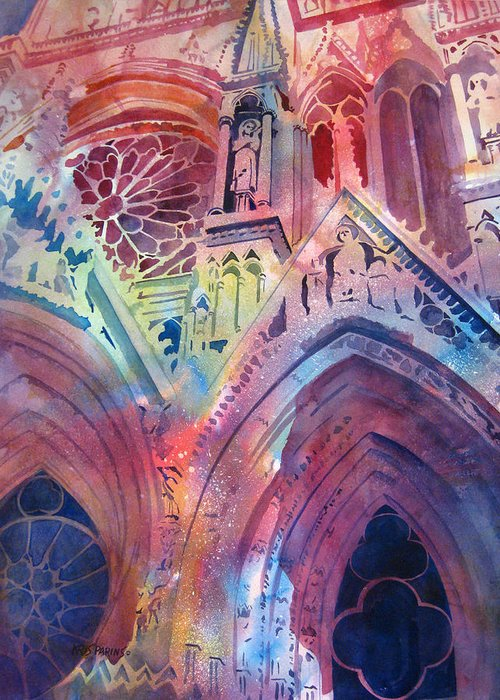 Kris Parins Greeting Card featuring the painting Rose Window by Kris Parins