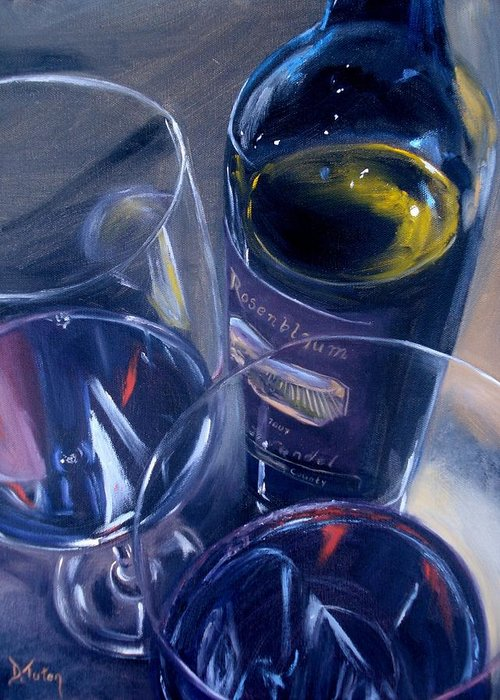 Wine Greeting Card featuring the painting Rosenblum And Glasses by Donna Tuten