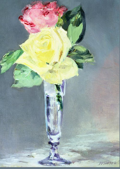 Still-life Greeting Card featuring the painting Roses In A Champagne Glass by Edouard Manet