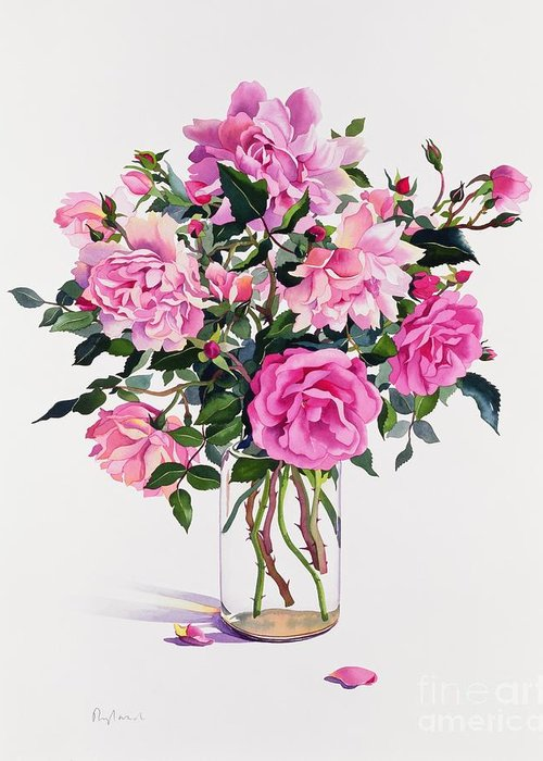 Rose Greeting Card featuring the painting Roses In A Glass Jar by Christopher Ryland